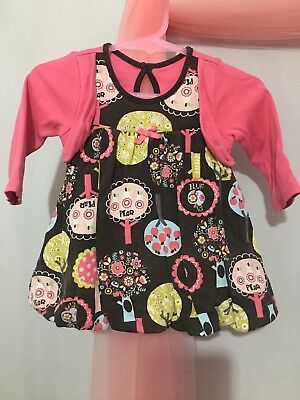 Lovely Baby Girls Funky Brown Floral Tree Puffball Dress Built In Cardigan 0-3m ()