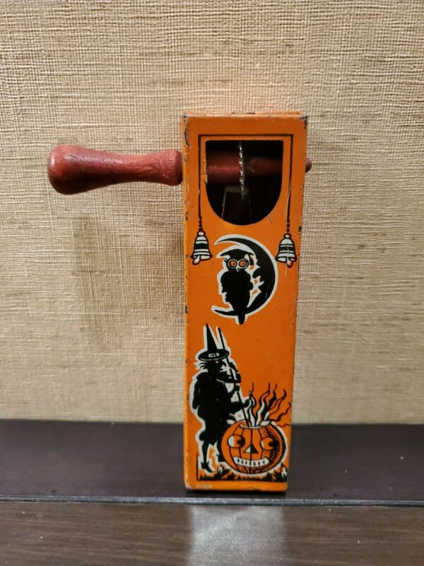 VINTAGE KIRCHHOF TIN HALLOWEEN NOISE MAKER WORKS OWL MOON PUMPKIN WITCH BROOM 🎃