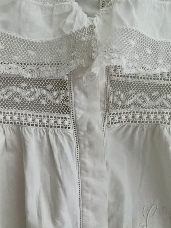 Antique French BLOUSE cotton poplin FRILL LACE COLLAR  entredeux LY mono c1920