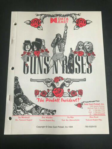 Data East Guns N Roses Pinball Machine NOS manual