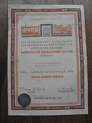925 Silber Medaille der Patriotischen Gesellschaft mit Urkunde  Hamburg 1958