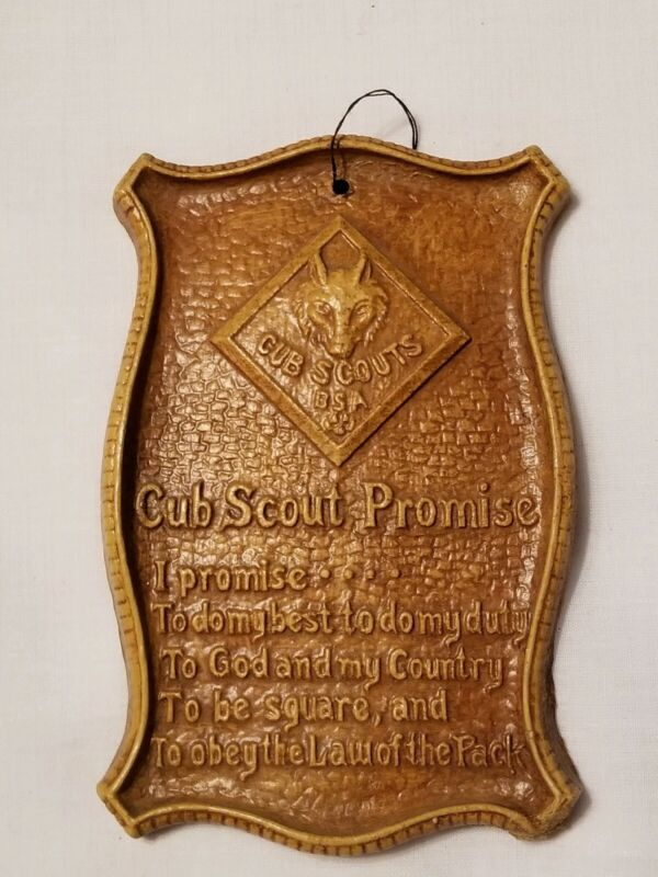 VINTAGE 1960s CUB SCOUT PROMISE PLAQUE Wolf Boy Scouts of America