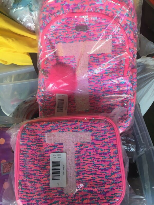 Justice Girl/'s Initial T UNICORN Flip Sequin Lunch Tote New with Tags