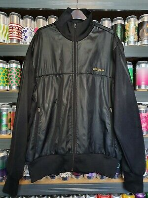💣 Adidas Mens XL Wet Look Shiny Jacket Coat Rare Black Gold Vintage