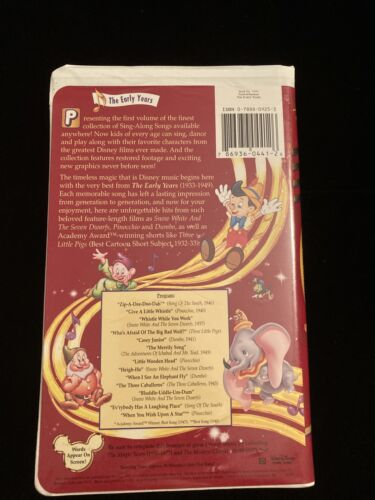 Disneys Sing Along Songs - Sing Along Songs The Early Years VHS, 1997  - $88.77