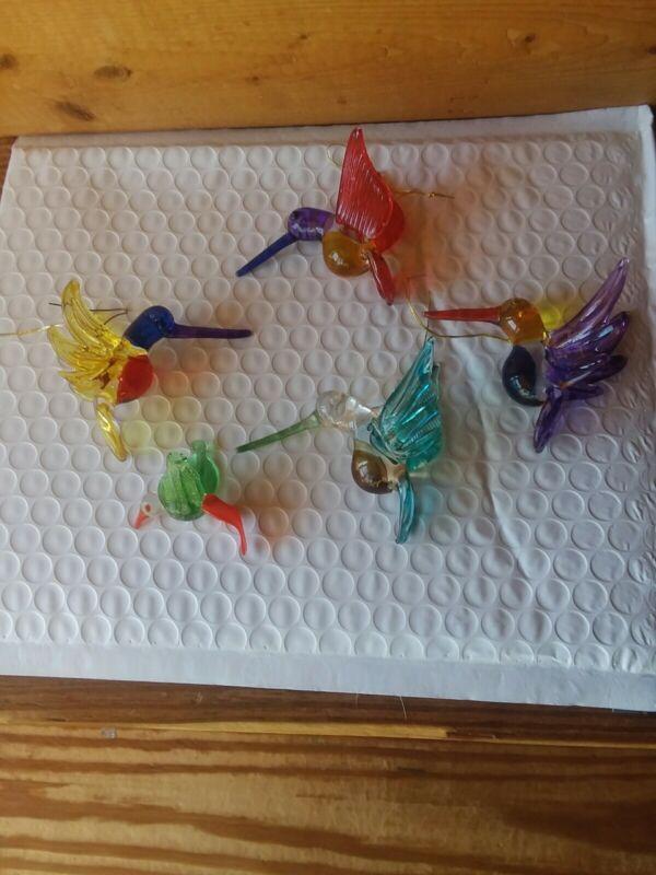 Glass  Hummingbird Ornaments lot of 5