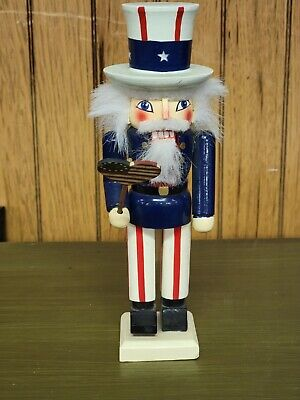 """Red White And Blue Patriotic Uncle Sam 4th Of July Nutcracker - 10"""""""