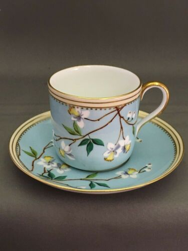 Bodley Antique Demitasse Cup Saucer Floral Blossoms Light Blue Turquoise Lovely!