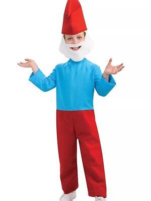 Papa Smurf The Smurfs Child Large Costume 8-10 Yrs Old ***w/ Bonus Makeup & Nose (Papa Smurf Costumes)