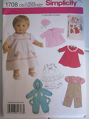 "Simplicity 1708 Doll 15"" Baby Dress Coat Bonnet Bonnet Overalls SEW PATTERN NEW"