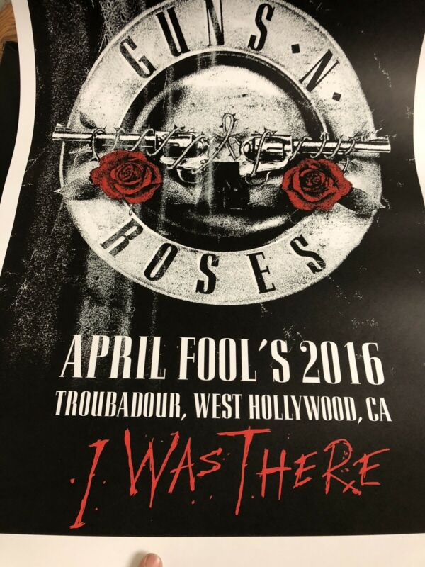 guns n roses troubadour Concert Poster Limited Edition 2016 Tour I Was There