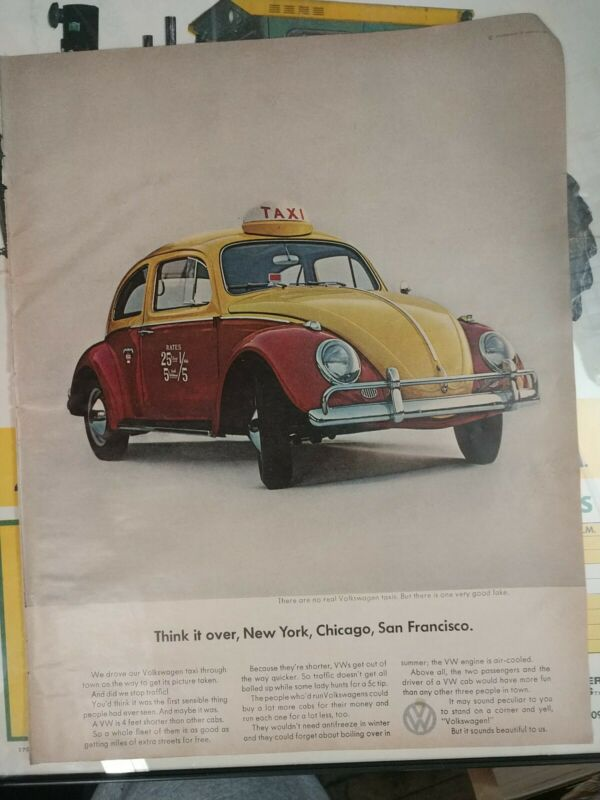 1964 VOLKSWAGEN Beetle Bug Taxi Cab Vintage Print Ad Wall Art VW