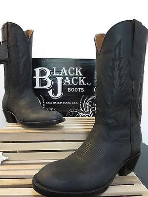 Black Jack Men's Black Mad Dog Goat Cowboy Boot 388 NIB Size 7.5 D