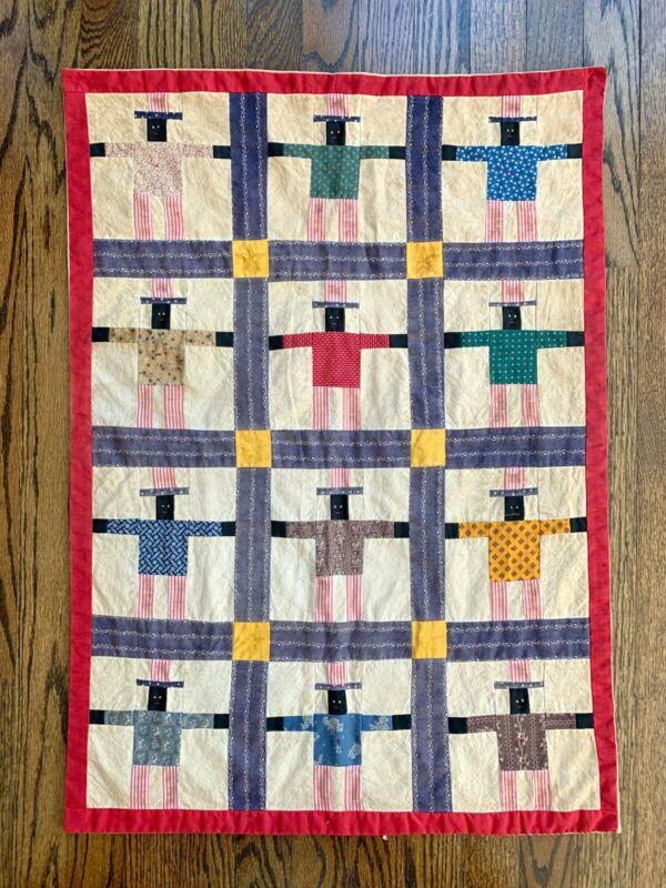 Rare Black Uncle Sam Patchwork Americana cotton Quilt 1980s Stephen Blumrich