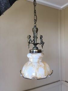 GORGEOUS ANTIQUE LOOKING COLOURED GLASS PENDANT LIGHT Doubleview Stirling Area Preview