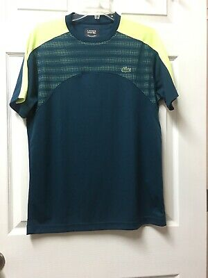 Lacoste Men's Sport Crew Neck Ultra Dry Teal Green & Yellow Shirt US Medium