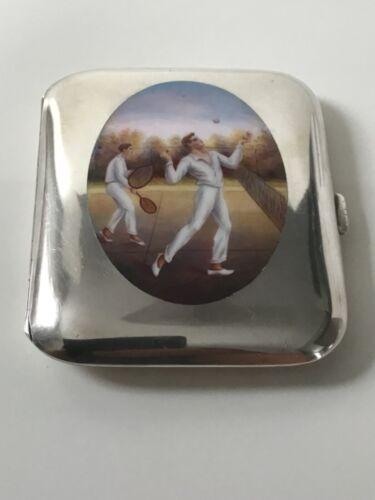 Wonderful Swiss Art Deco silver and enamel Tennis themed cigarette case