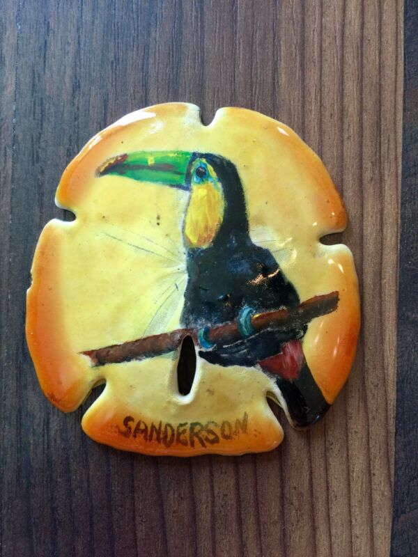 """Collectible 3""""x3.5"""" HAND PAINTED TOUCAN SAND DOLLAR by Cathy Sanderson"""