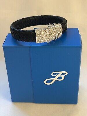 HSN Joan Boyce Braid Beautiful Pave Black Leather Bangle Bracelet New In Box