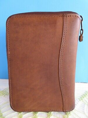 Pocket 78-rings Brown Leather Franklin Covey Spacemaker Planner Binderzip Usa