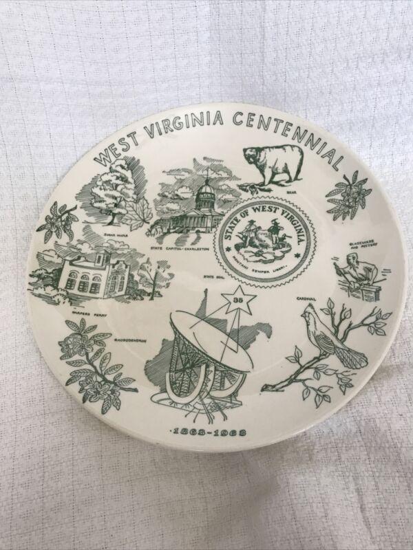 West Virginia Centennial 1863-1963 Collector Plate Vintage Homer Laughlin Newell
