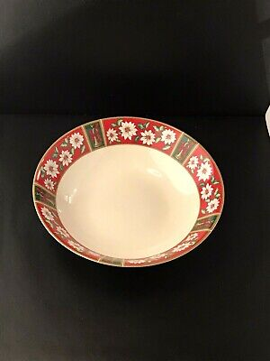 VTG Round Vegetable Bowl Kobe China Charlton Hall Christmas Japan Red -