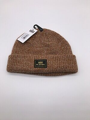 Vans Mens Argan Oil Orange Bruckner Cuff Beanie Logo Hat One Size Brand New