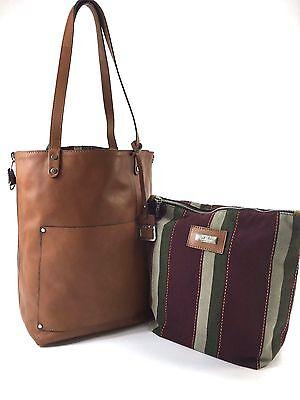 Innue Italian Cognac Leather Womens Tote Reversible Canvas Stripe Handbag Purse