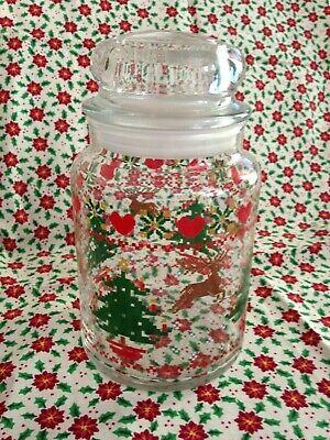 "VINTAGE CHRISTMAS TREE & REINDEER GLASS CANDY JAR 7"""