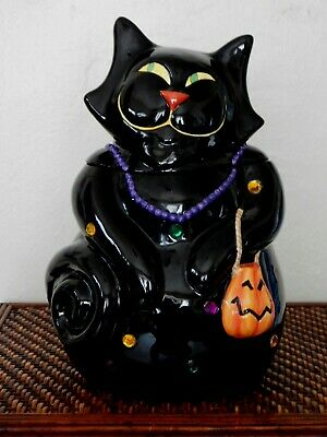 Trick or Treat iconic Halloween Black Cat Cookie jar fantastic facial expression