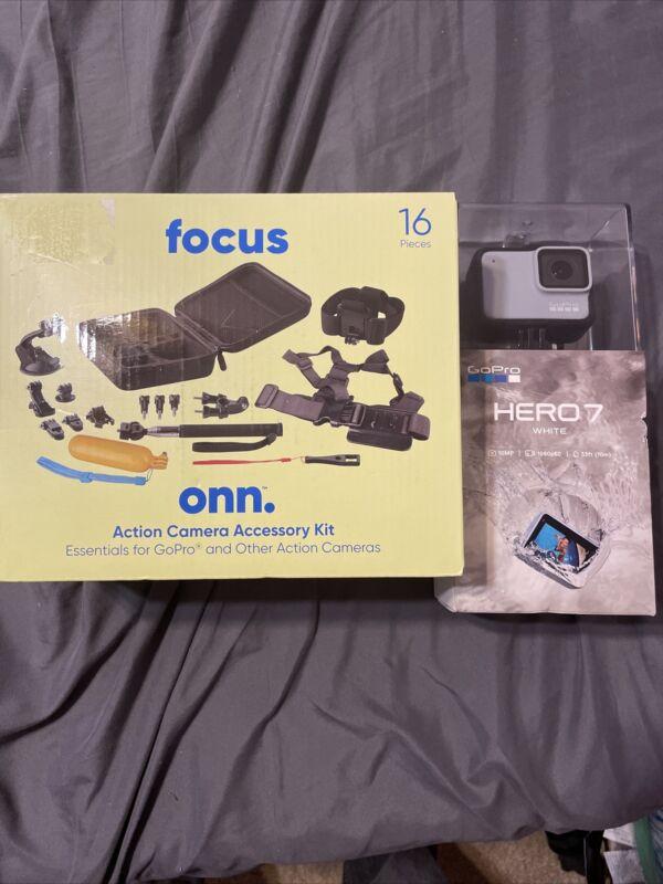 nib sealed go pro hero 7 in white plus free onn 16 piece camera acc kit