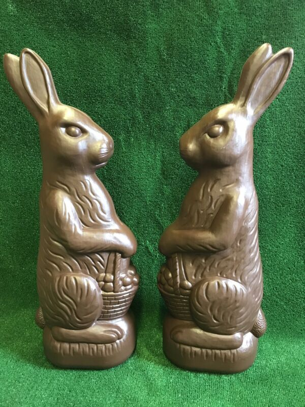 "Blow Mold Easter Decoration Chocolate Rabbit Huge 31"" Inches Union Products Pair"