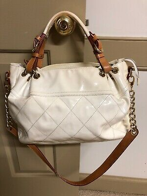 Cavalcanti Off white quilted Patton leather spring summer Italian Handbag