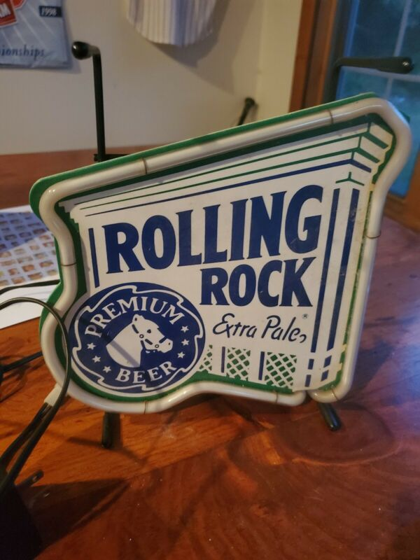 ROLLING ROCK EXTRA PALE PREMIUM BEER NEON SIGN W ATTACHED STAND 1995