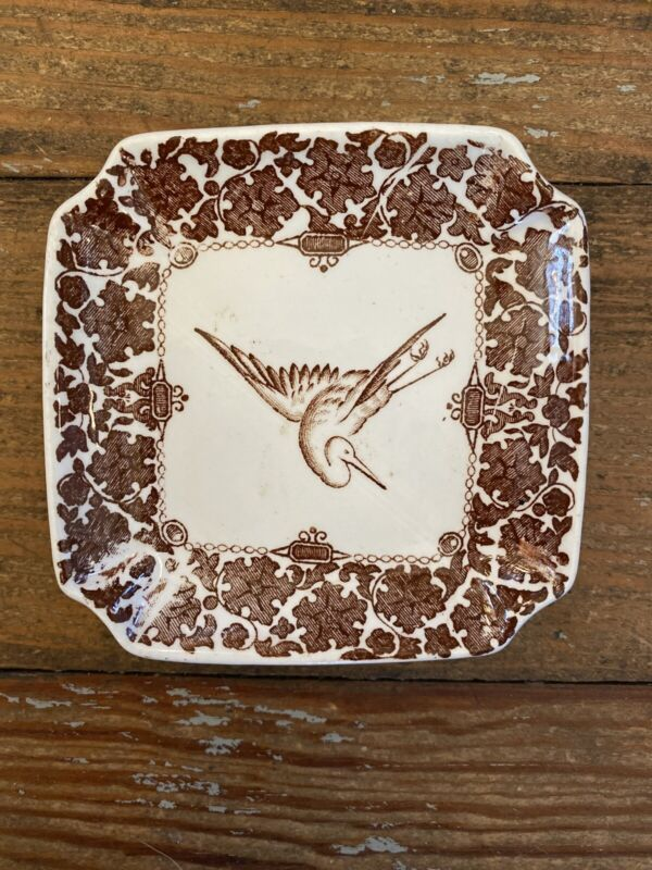 Antique Aesthetic Period BROWN Ironstone BUTTER PAT STAFFORDSHIRE Transferware