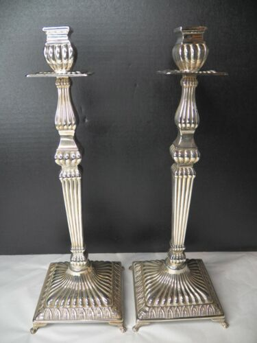 """PAIR OF STERLING CANDLESTICKS, RIBBED, 15"""" TALL NO MONOGRAMS NOT WEIGHTED"""