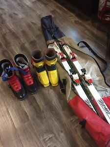 Men's and ladies downhill ski boots