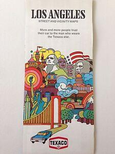 Vintage 1971 Texaco Los Angeles California Travel Folding Road Map