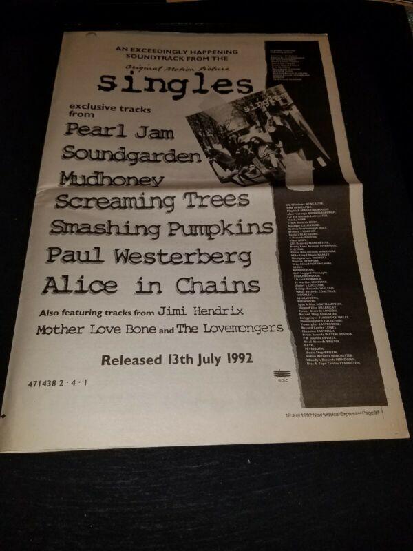 Pearl Jam, Soundgarden, Alice In Chains Singles Rare UK Promo Poster Ad Framed!