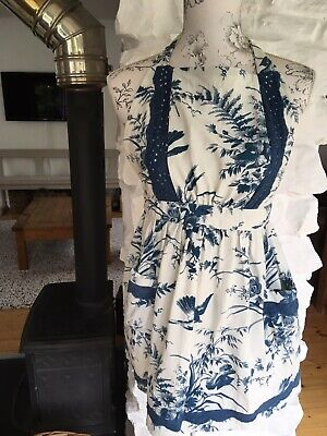 Vintage Style Kitsch Apron Blue And White Like Dress