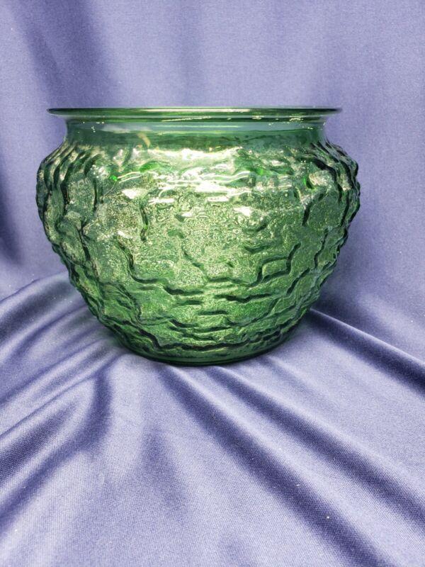 VINTAGE E.O. BRODY  CRINKLE GREEN GLASS PLANTER  G107