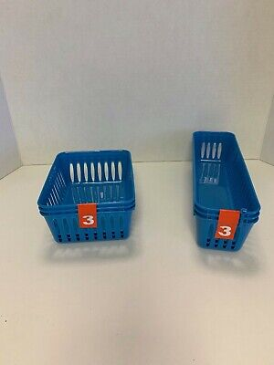 6 Cubby Blue Storage Baskets School Desk & Drawer Organizer Long Slotted Plastic Blue Storage Cubby