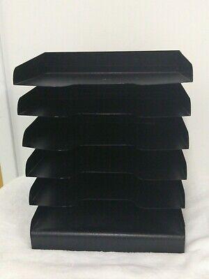 Industrial Black Horizontal Metal Desk Paper Organizer 6 Tiers Tray 15 X 12