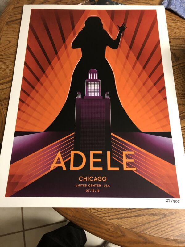 Adele Concert Poster Chicago Limited Edition Numbered Lithograph