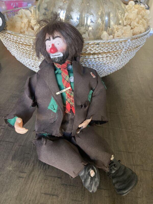 VINTAGE Emmett Kelly Hobo Clown Musical Doll  (j)