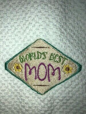 Embroidered Kitchen Hand Towel  World's Best Mom with Flowers Emblem