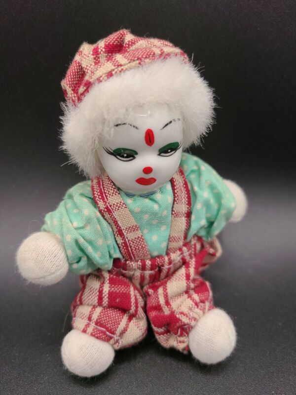 """Clown Red Plaid Overalls and Hat Small Figure Porcelain Face/Soft Body 4"""""""
