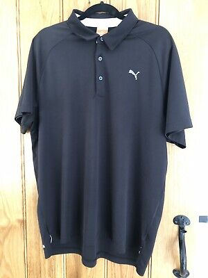 Mens Black Puma Golf Polo Shirt