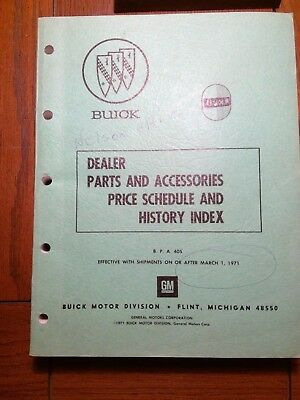 1971 Buick Opel Dealers Parts and Accessories Price Schedule And History Index