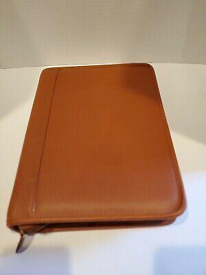 Genuine Tan Leather Business Portfolio Planner Organizer At-a-glance Zipper